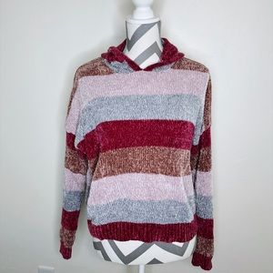 Pink Chenille Hooded Striped Long Sleeve Sweater